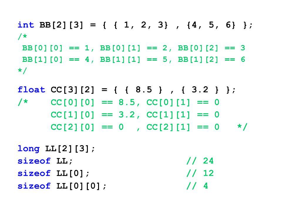 int BB[2][3] = { { 1, 2, 3} , {4, 5, 6} }; /* BB[0][0] == 1, BB[0][1] == 2, BB[0][2] == 3. BB[1][0] == 4, BB[1][1] == 5, BB[1][2] == 6.
